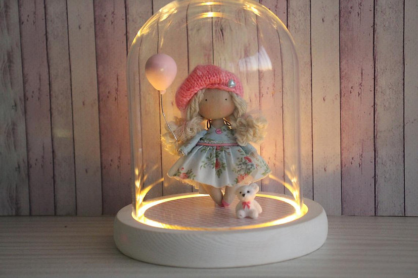 Miniature rag doll Led night light for girl Girl room decoration Baby girl shower gift Collectible doll Mini doll Cloth doll
