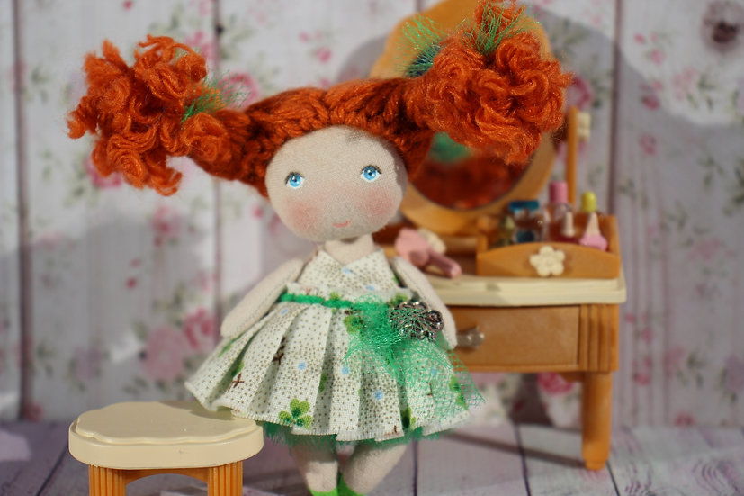 Miniature redhead rag collectible doll lucky shamrock clover