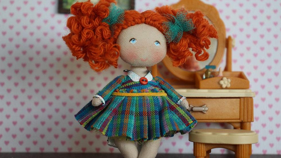 miniature readhead cloth art doll in saloon