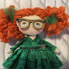 MOPPETDOLLS_miniature rag doll, handcrafted cloth doll redhead, mini handmade fabric doll, tiny redhead rag doll, small art doll collection, mini bjd, mini poupée en tissu artisanale, joan walsh anglund