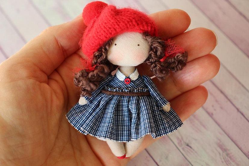 Miniature Rag doll mini doll  art fabric doll collectible mom gift grandma