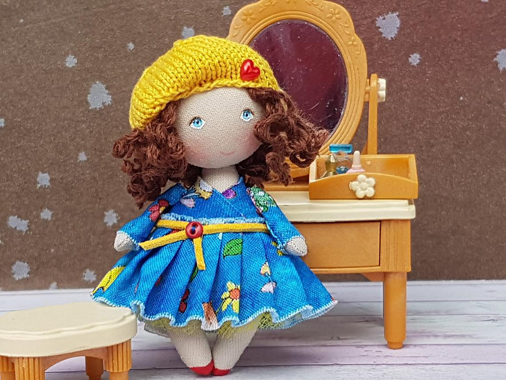 Personalized rag doll miniature gift Small collectible craft doll Personalized - in living room