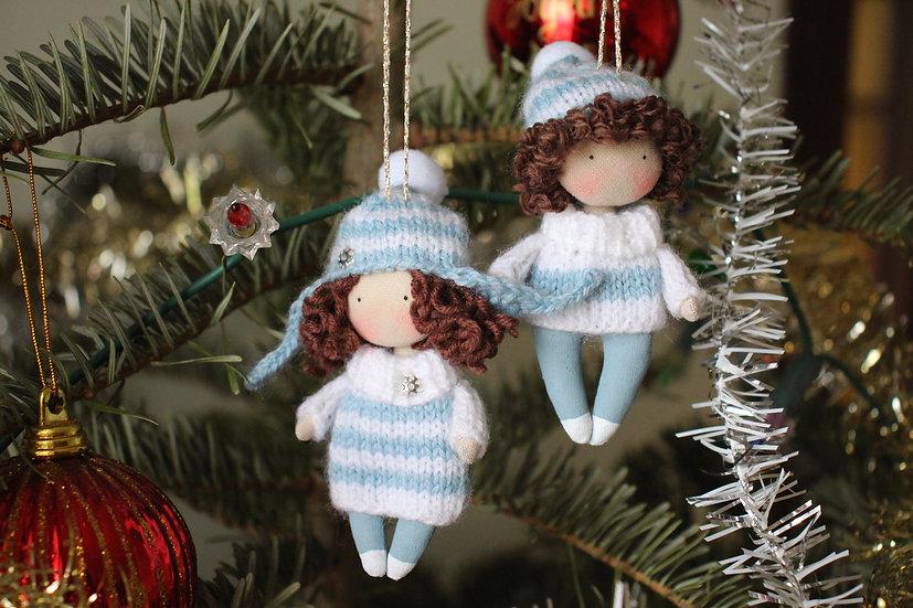 miniature rag doll Christmas tree decorations