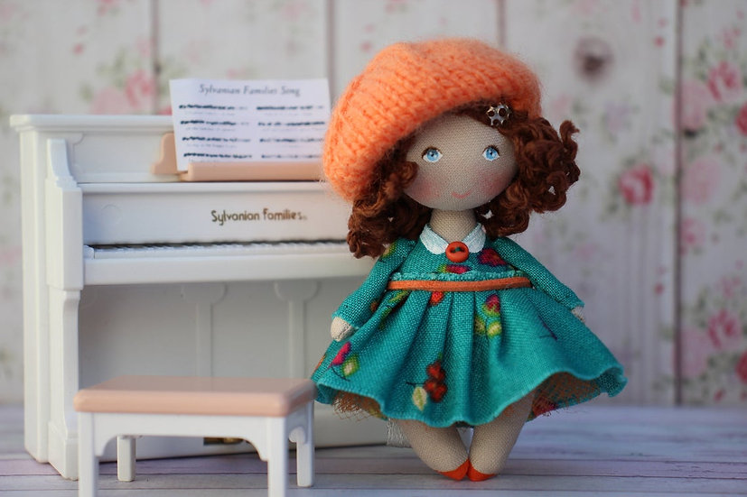 Small fabric doll 1:12 scale Toy for doll - valentine brunnette doll