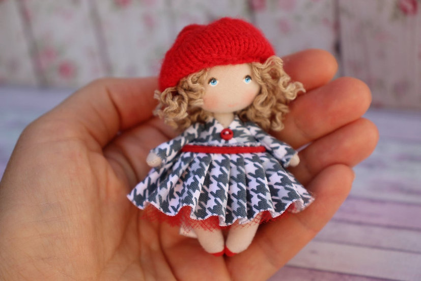 Small art fabric dollhouse miniature doll  dollhouse accessory  collectible doll