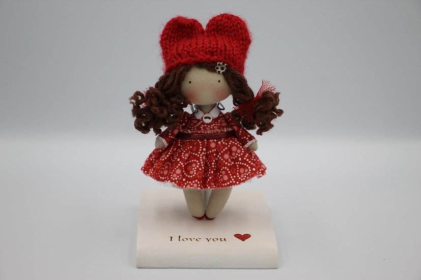 Miniature handmade cloth collectible doll wonderfull St Valentine gift