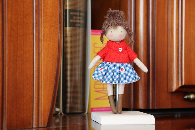 Cute handmade fabric doll full of sun. Mother's day gift. custom cloth doll in library