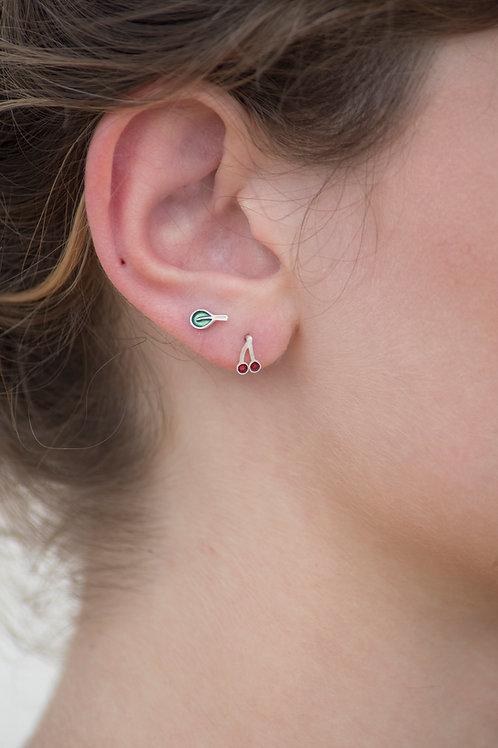 Cherries & leaf tiny silver earrings