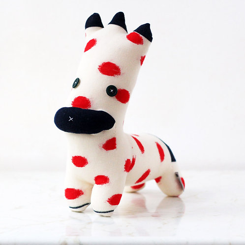 """Zan-zan"" Fourlegs Soft Toy - White, Red & Blue / Button eyes"