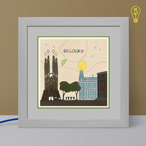 Barcelona Illustrated Light Box