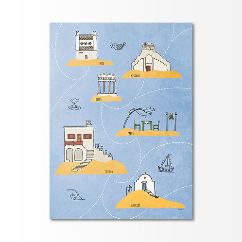 Cyclades illustrated cover notebook