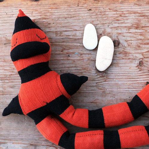 """Plons"" Longlegs Soft Toy - Black & Orange Stripes / Stitched eyes"