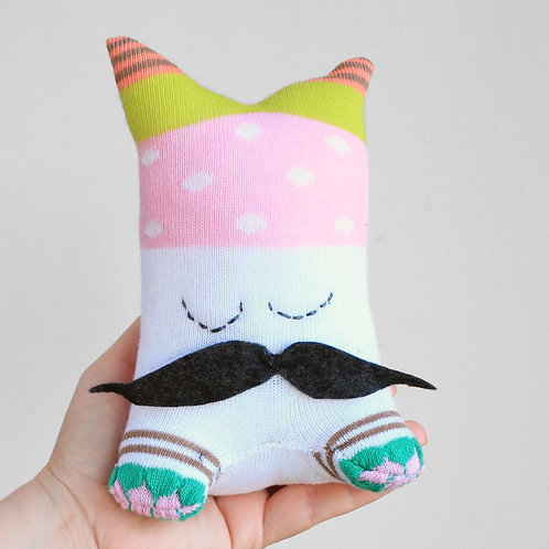 """Plop"" Sockino Soft Toy - Black mustache / Stitched eyes"