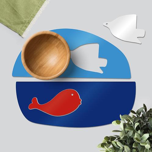 Whale & Dove colourful tableware set