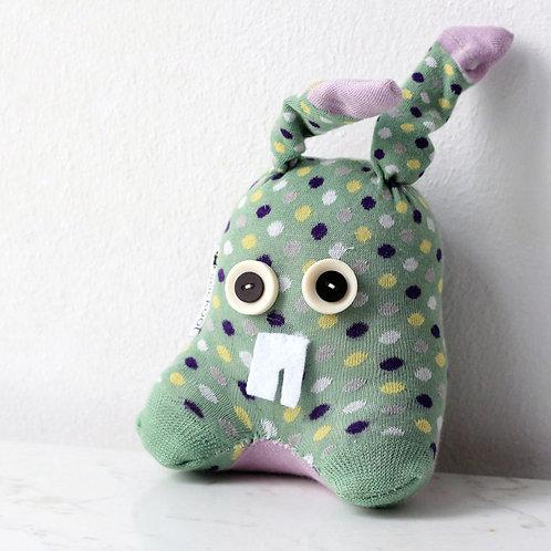 """""""Nura"""" Sockino Soft Toy - Pistachio Green / Button eyes"""