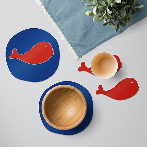 Red Whale colourful tableware set