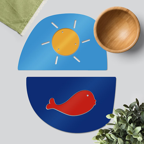 Whale & Sun colourful tableware set