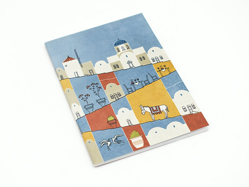 Santorini illustrated cover notebook
