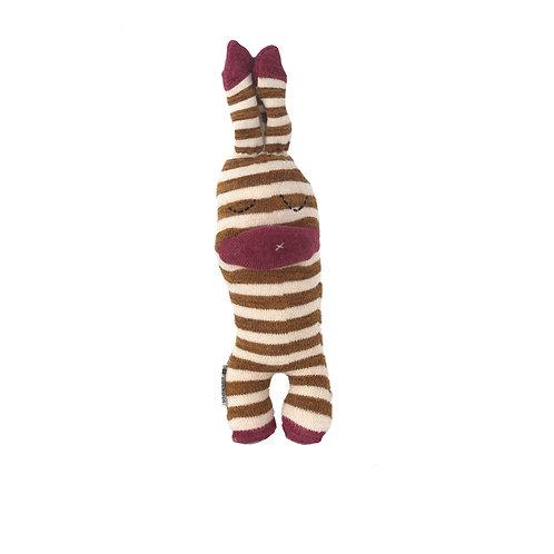 """""""Bom"""" Sockino Soft Toy - Brown stripes / Stitched eyes"""