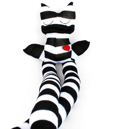 """Rigatoni"" Longlegs Soft Toy - Black & White Stripes / Stitched eyes"