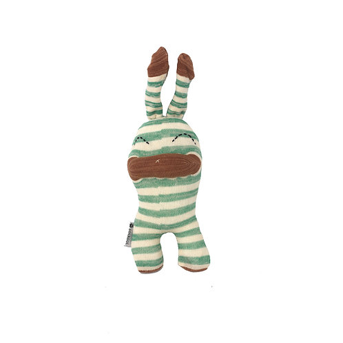 """Pin"" Sockino Soft Toy - Green stripes / Stitched eyes"