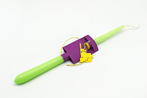 Easter candle with yellow bunny key ring