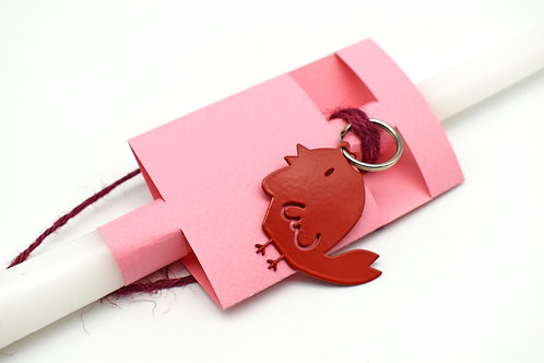 Easter candle with red chick key ring