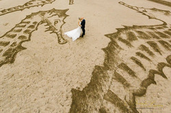 Drone photo of Bride and Groom