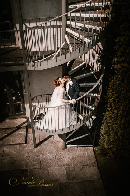 bride and groom in stairs