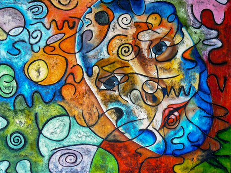 Feigned joy, reality hidden behind a mask, 2008