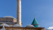 Rumi's tomb in Konya , Turkiet is a Place for both turists and pilgrims