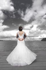 Bröllopsfotografering, Brudtärnor, Bröllop, Brudklänning, Brudbuket, himmeln