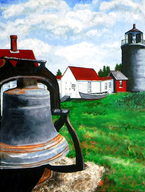 Monhegan Bell with Light by Laurie Lofman Bellmore
