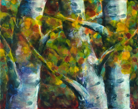 Dappled Birches by Ann Rhinehardt