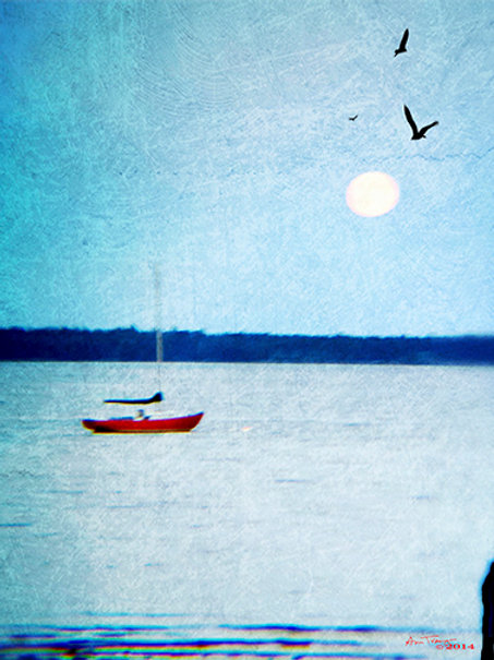Big Moon Red Boat by Ann Tracy