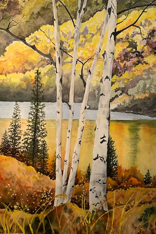 Autumn Foliage with Birch Trees by Patricia Smith