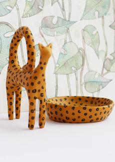 """Kattskulptur och skål """"Leopold"""""""