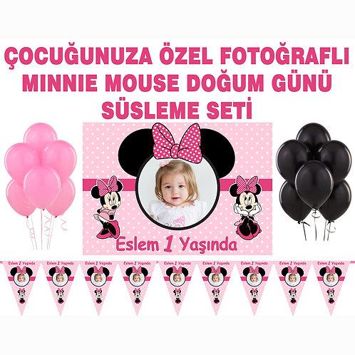 Minnie Mouse Pembe Doğum Günü Süsleme Seti