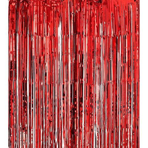 Kırmızı Parlak Püsküllü Perde Süs