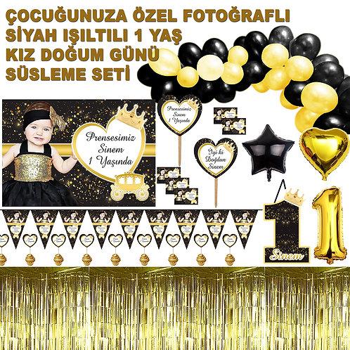 1 Yaş Kız Siyah Altın Doğum Günü Seti Balon Zinciri