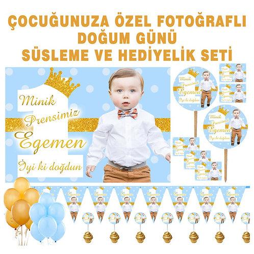 Simli Altın Mavi Balonlu Doğum Günü Süsleme Seti