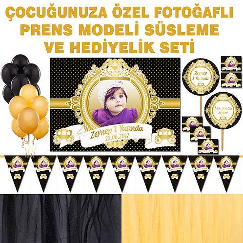 Prenses Altın Siyah Doğum Günü Dekorasyon Süsleme ve Hediyelik Seti