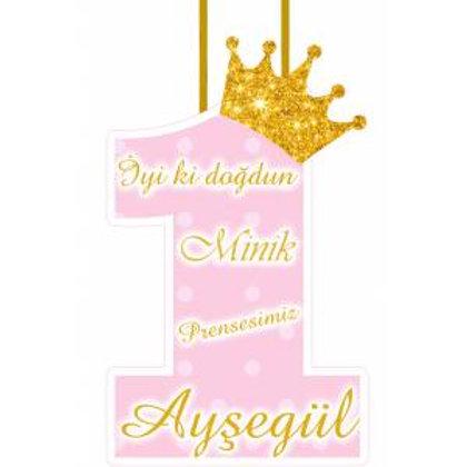 Prenses Simli Pembe Altın Kişiye Özel Asma Süs