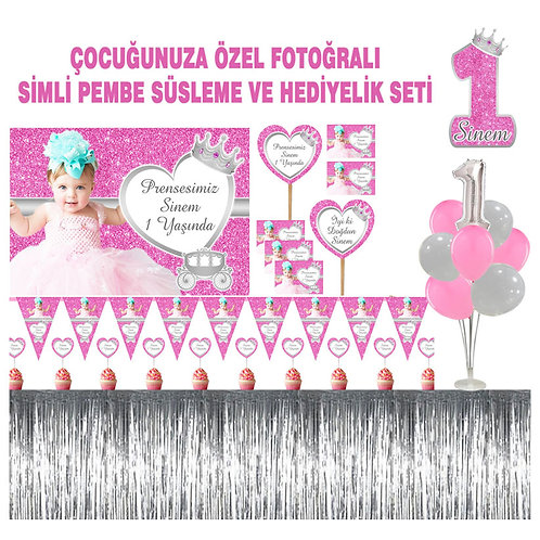Simli Pembe Gümüş Balon Standlı Büyük Doğum Günü Seti