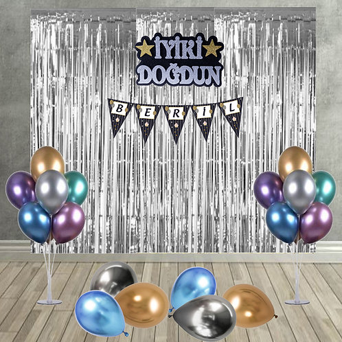 Altın veya Gümüş Krom Balonlu, Arka Fonlu Doğum Günü Süsleme Seti