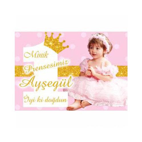 Prenses Simli Pembe Altın Magnet 5x7 cm 16 Adet