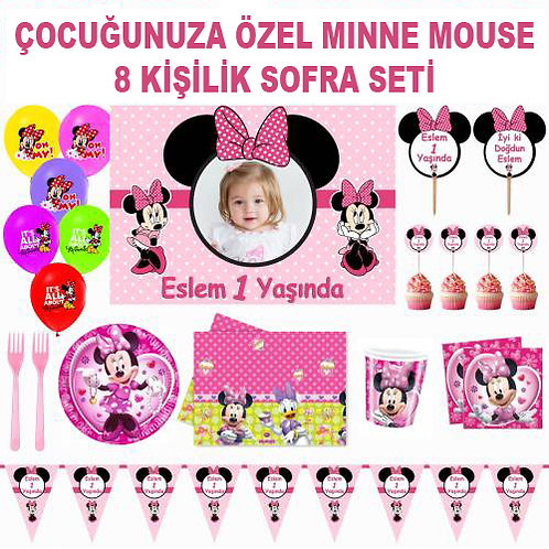Minnie 8 Kişilik Doğum Günü Sofra Seti