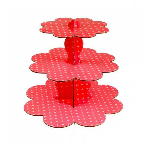 Kırmızı Puantiye Kek Standı Cupcake Stand