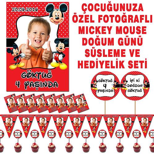 Mickey Mouse Kırmızı Doğum Günü Süsleme ve Hediyelik Seti