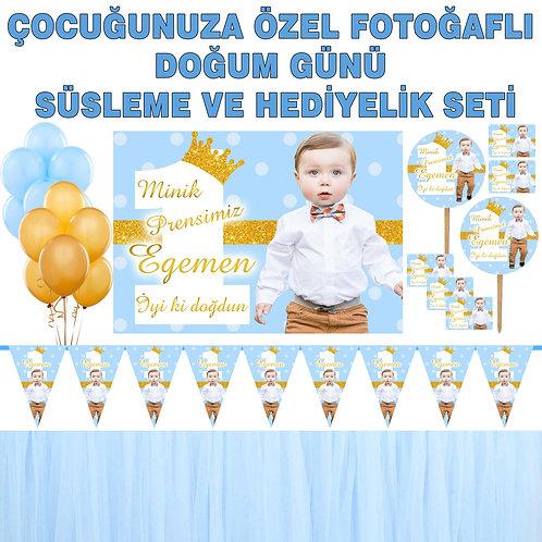 Simli Altın Mavi Doğum Günü Dekorasyon Süsleme ve Hediyelik Seti